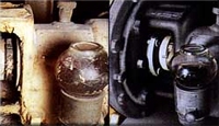 Paint and corrosion removed from electric pump with ceramic seal and glass oil level indicator